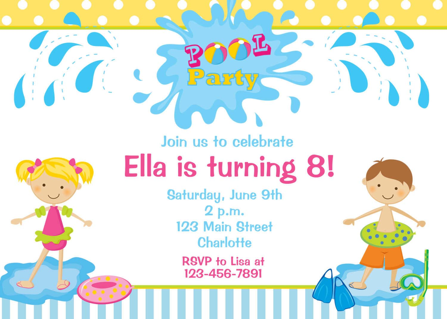 kids birthday party invitations with photo ; kids-pool-party-invitations