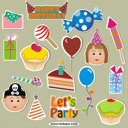 kids birthday stickers ; Birthday-4p