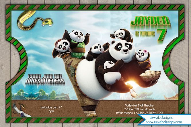 kung fu panda birthday invitation printable ; 871f2a7da4c33789dde5d48d32a79f92