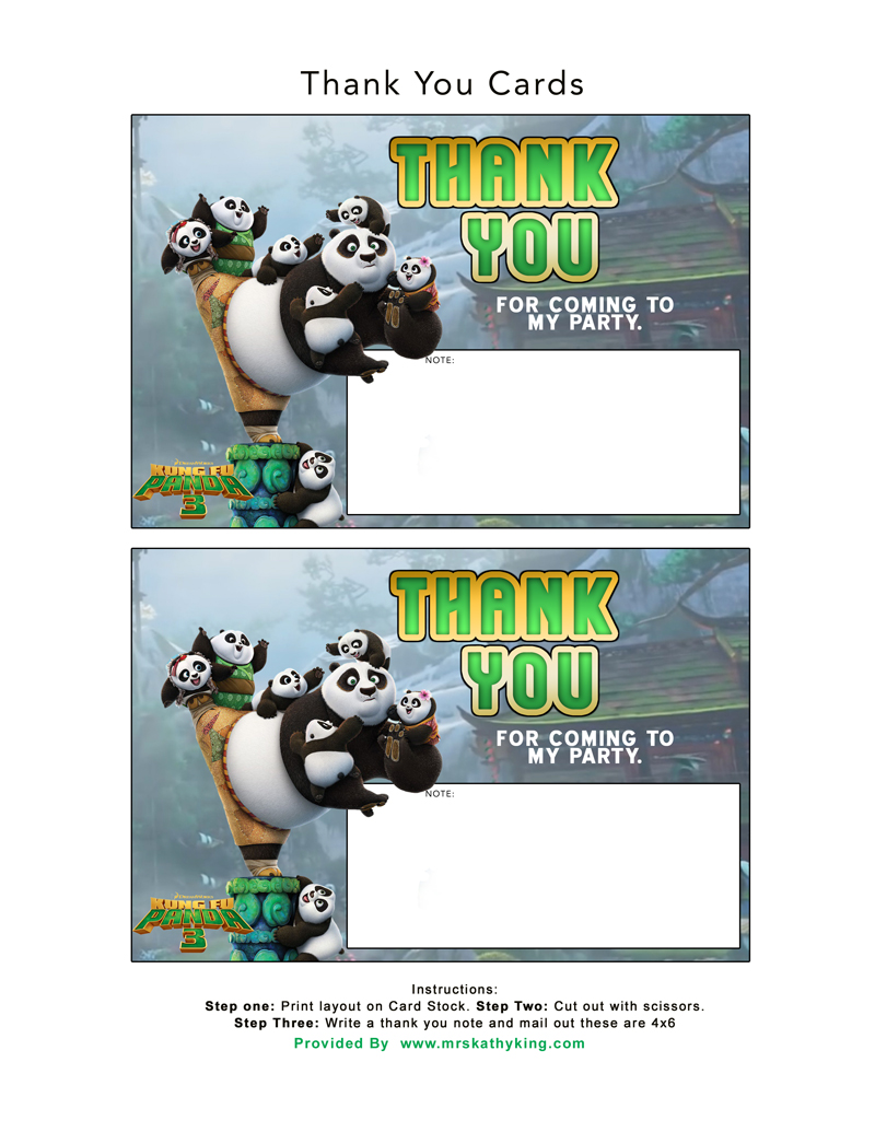kung fu panda birthday invitation printable ; KungFuPanda03_ThankYouCards4x6_8