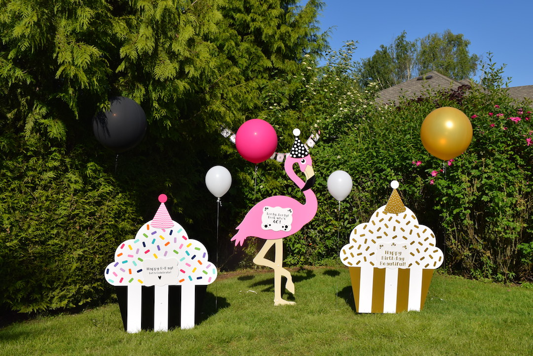large birthday signs ; Celebration-Birthday-Yard-Signs-Cupcake-Flamingo-Party-Decorations