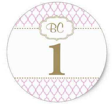 large birthday stickers ; 1-5inch-Large-Pink-and-Gold-First-Birthday-Sticker