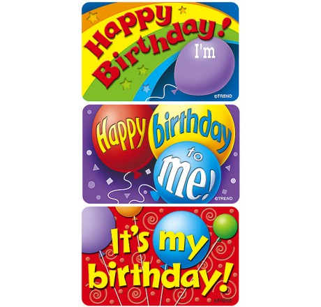 large birthday stickers ; t47303