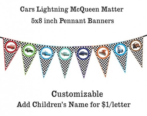 lightning mcqueen birthday banner printable ; disney_cars_lightning_mcqueen_matter-_printable_banner_pennants_442f3530
