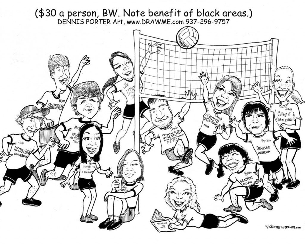 memory drawing of birthday party ; Caricature_Volleyball-teams-BW-full-body-black-added-1024x820