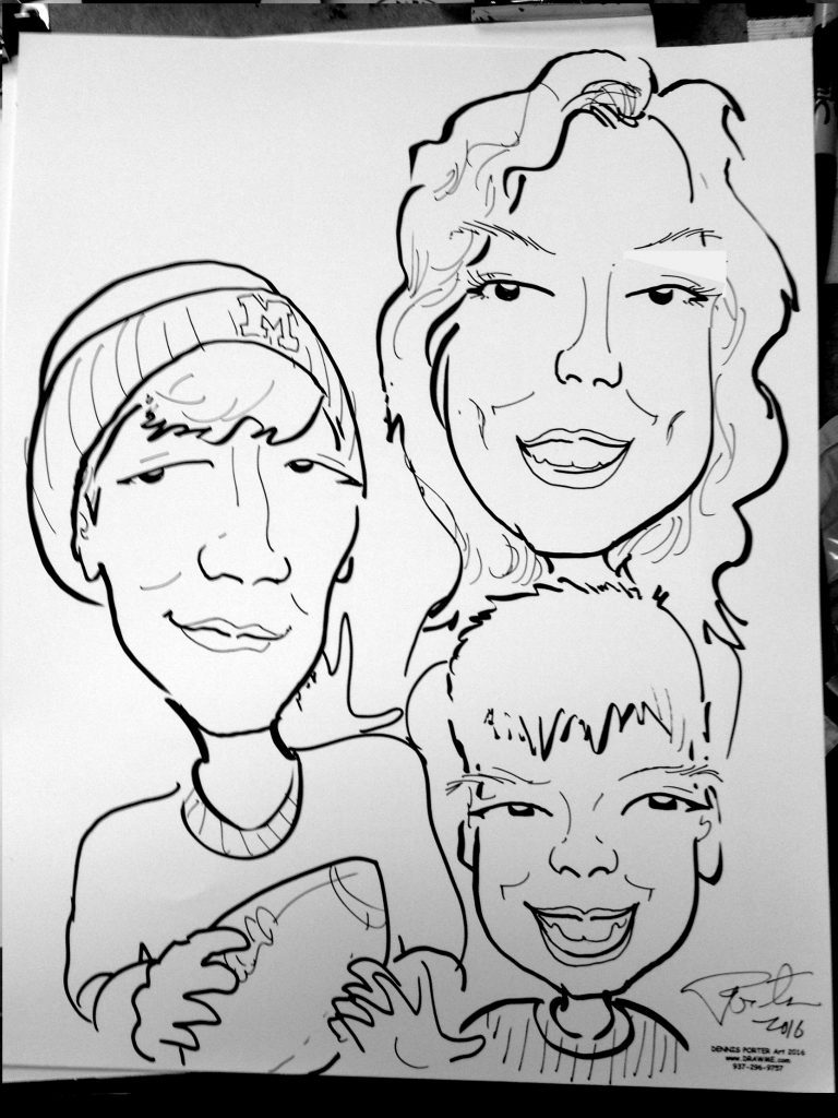 memory drawing of birthday party ; Caricatures_Mom-sons-art--768x1024