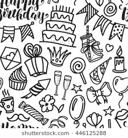 memory drawing of birthday party ; happy-birthday-lettering-doodle-seamless-260nw-446125288