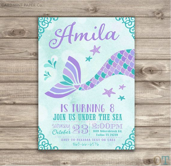 mermaid birthday invitation templates free ; Elegant-Mermaid-Party-Invitations-For-Additional-DIY-Party-Invitations