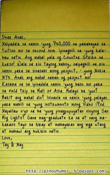 message for mother birthday tagalog ; tagalog-funny-letter