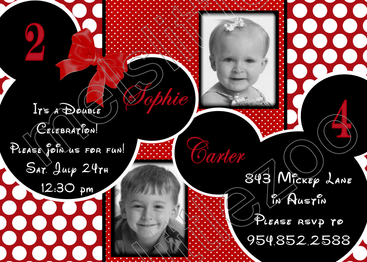 mickey and minnie mouse photo birthday invitations ; 1000_images_about_7