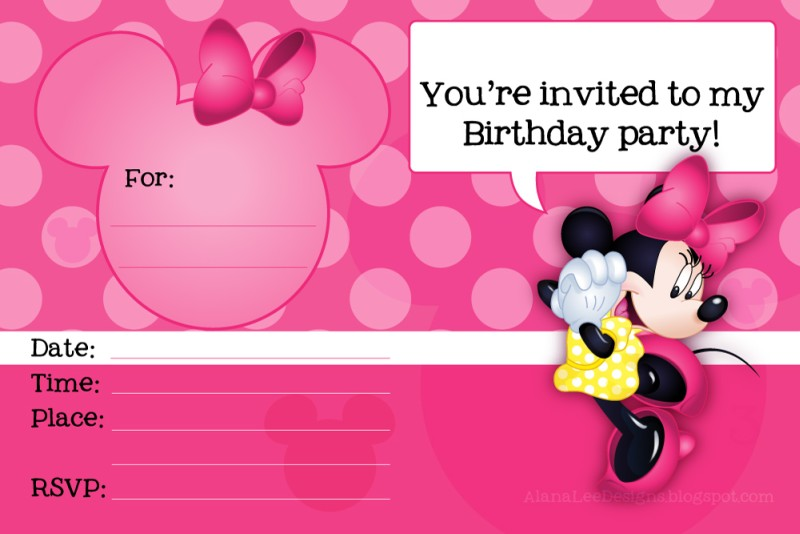 mickey mouse birthday invitation card template ; Minnie-Mouse-Printable-Party-Invitation-Template