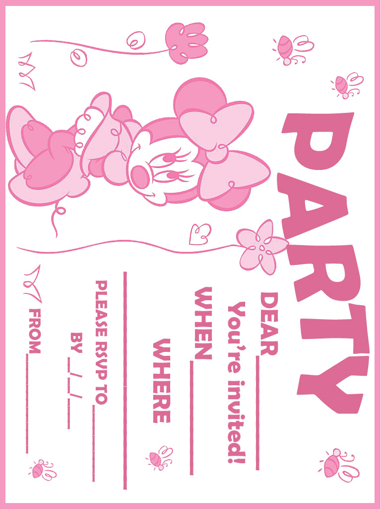 mickey mouse birthday invitation card template ; Pink-Printable-Minnie-Mouse-Birthday-Invitations