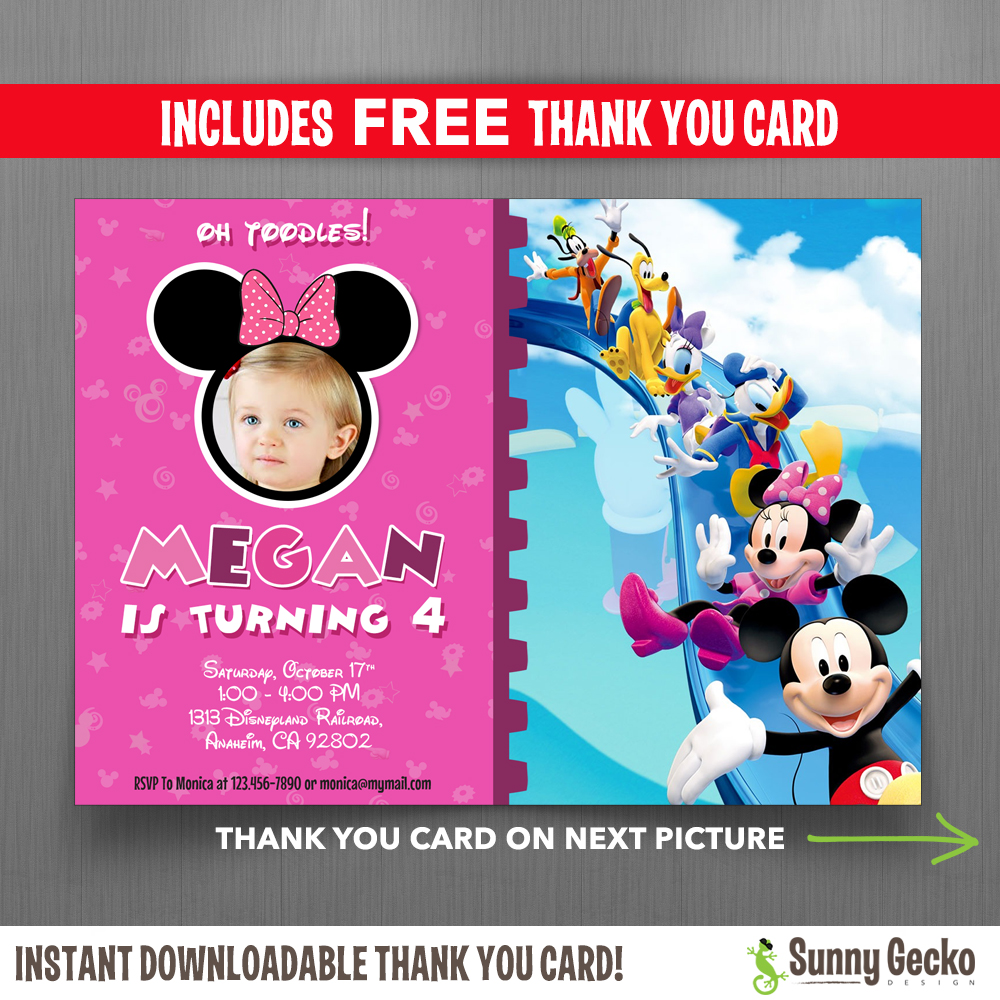 mickey mouse clubhouse birthday poster ; Minnie-Clubhouse-Invitations-with-Free-Thank-You-Card-1000x1000
