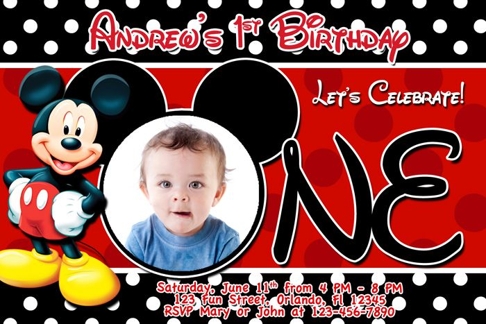 mickey mouse first birthday photo invitations ; 665465e1869f0315c174a23da0903036