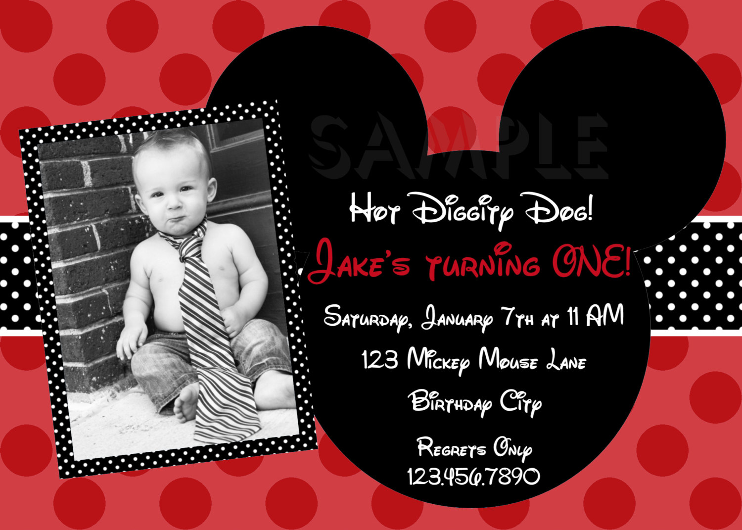 mickey mouse first birthday photo invitations ; 7101ae27a818fd96e433caeb5e546e66