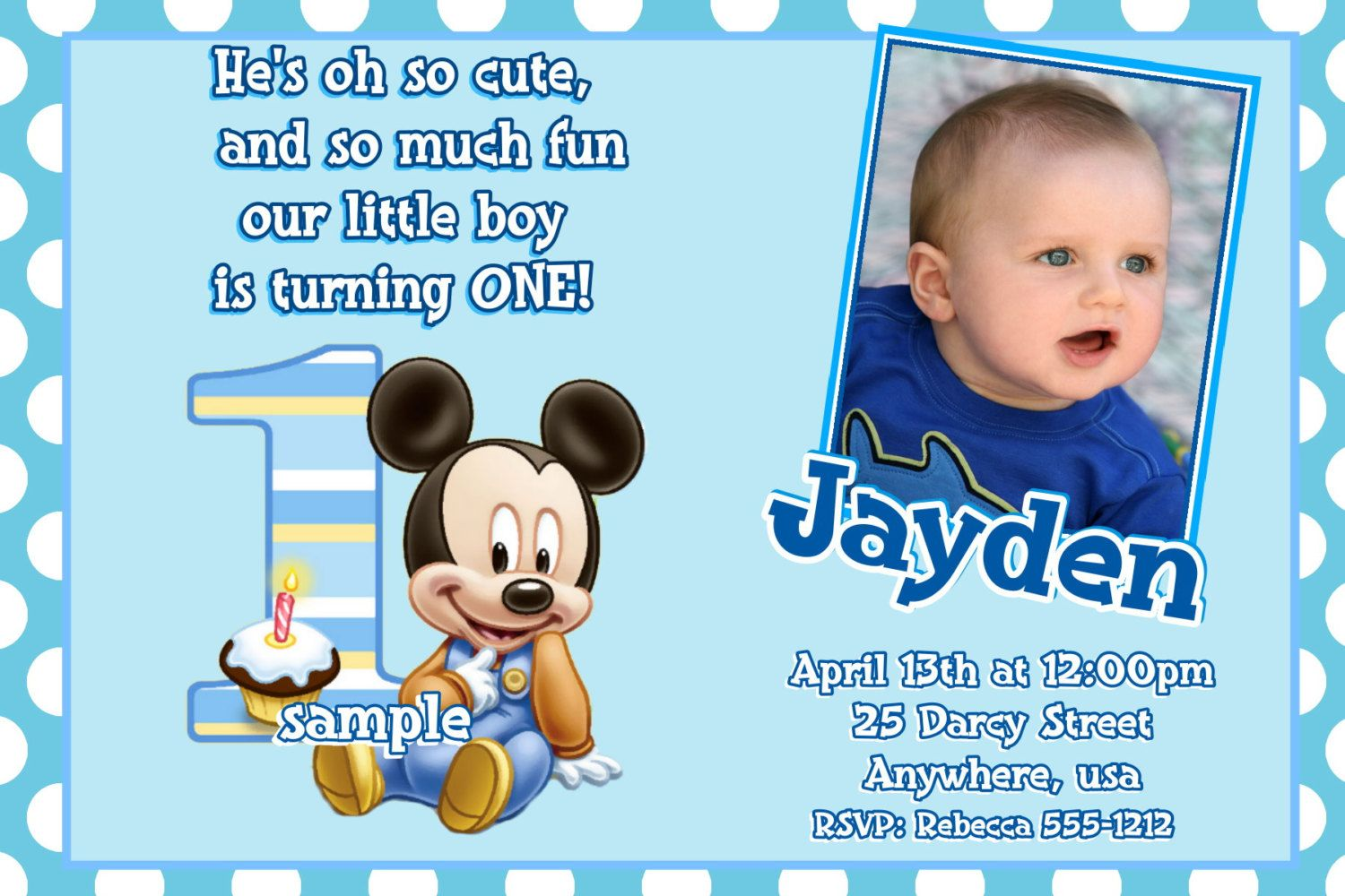 mickey mouse first birthday photo invitations ; 7f2cdebfc71da56c5ac0aa647b72af74