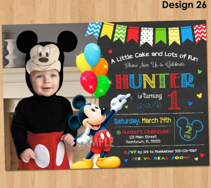 mickey mouse first birthday photo invitations ; 84e21a5f674ceaf9afee1159e9e67f69