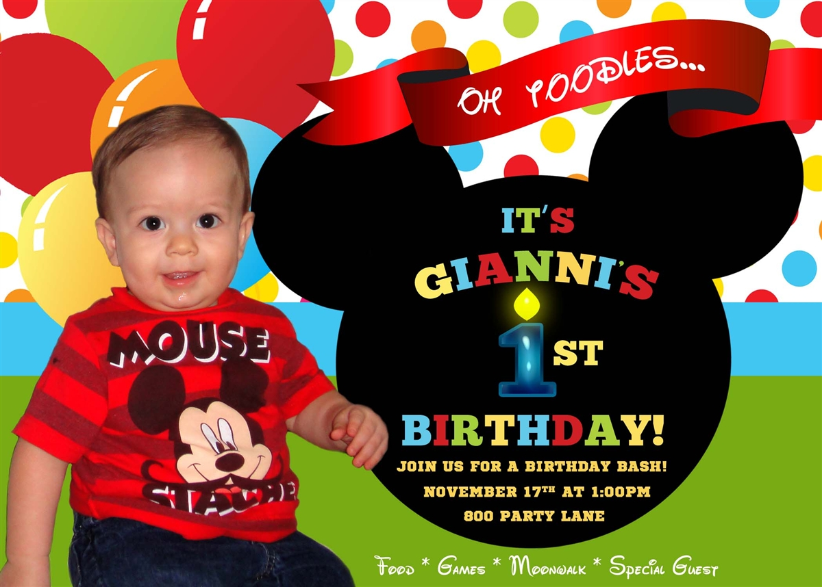 mickey mouse first birthday photo invitations ; GB105-2