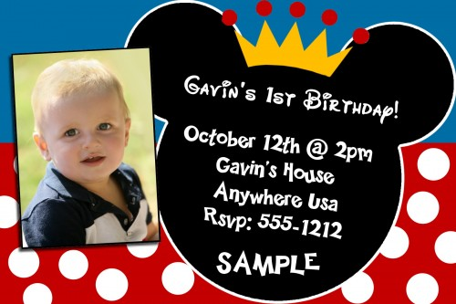 mickey mouse first birthday photo invitations ; Mickey-Mouse-First-Birthday-Photo-Baby-Invitations
