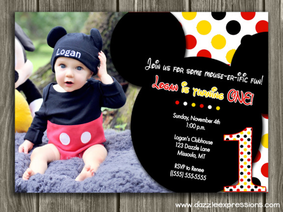 mickey mouse first birthday photo invitations ; MickeyRedandYellowcopy