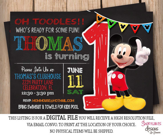 mickey mouse first birthday photo invitations ; a175a585c4c1c9276e768b13b85b744e