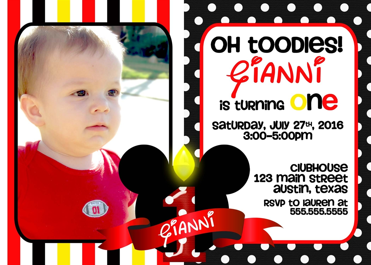 mickey mouse first birthday photo invitations ; a276994fc4b91252543493fe1400d81d