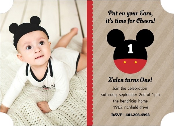 mickey mouse first birthday photo invitations ; design_1434738787586_1208202_1_large_ticket