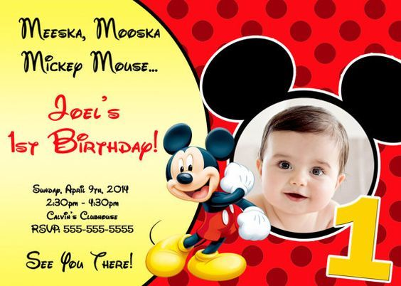 mickey mouse first birthday photo invitations ; e7fdc71305df6cb6828f1915141f81f1