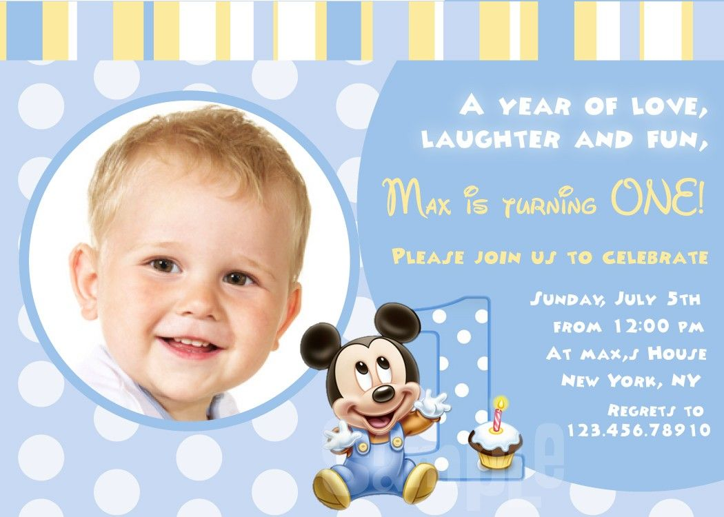 mickey mouse first birthday photo invitations ; fc8f0283364afc68f6957168dbb0f766