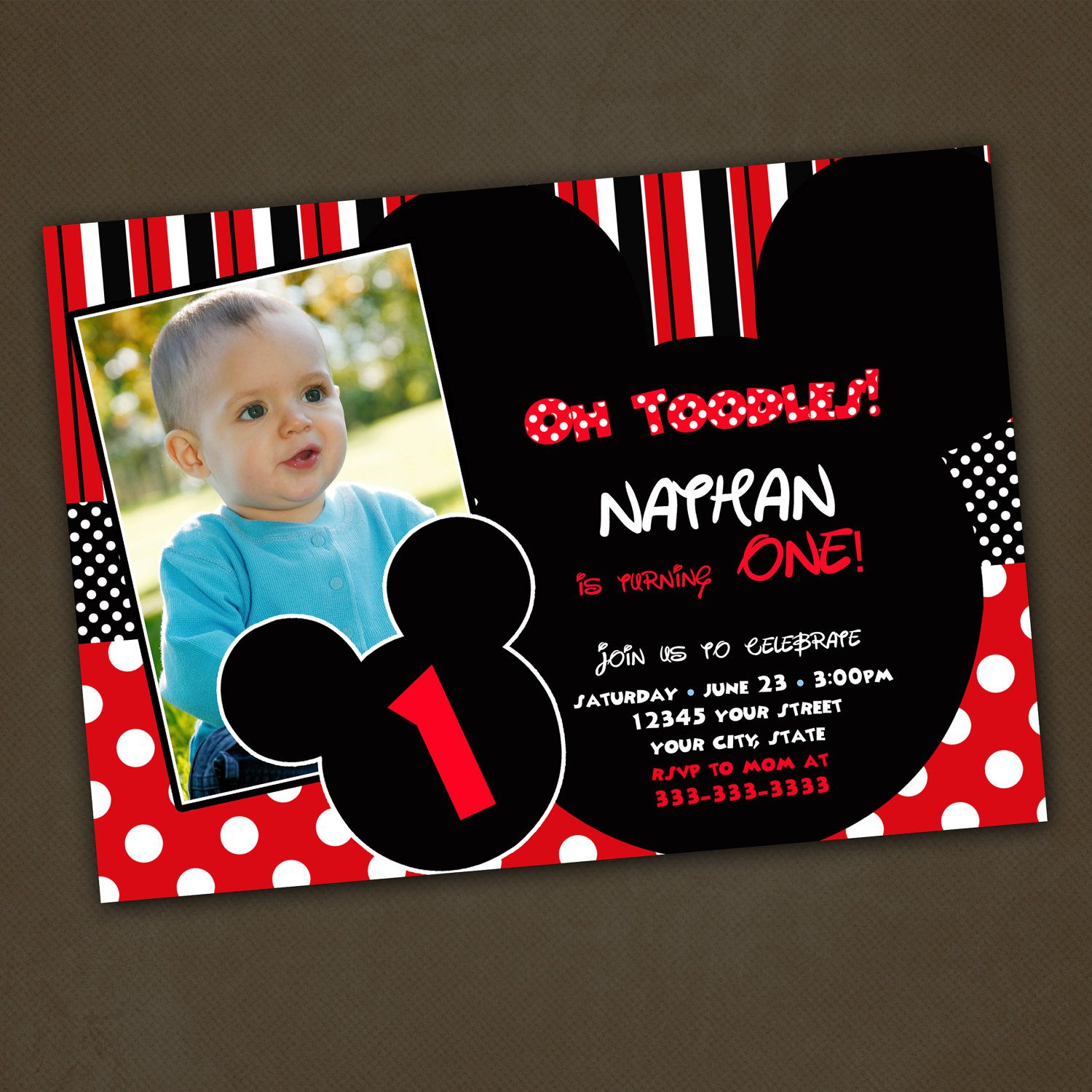 mickey mouse first birthday photo invitations ; mickey-mouse-1st-birthday-custom-invitations