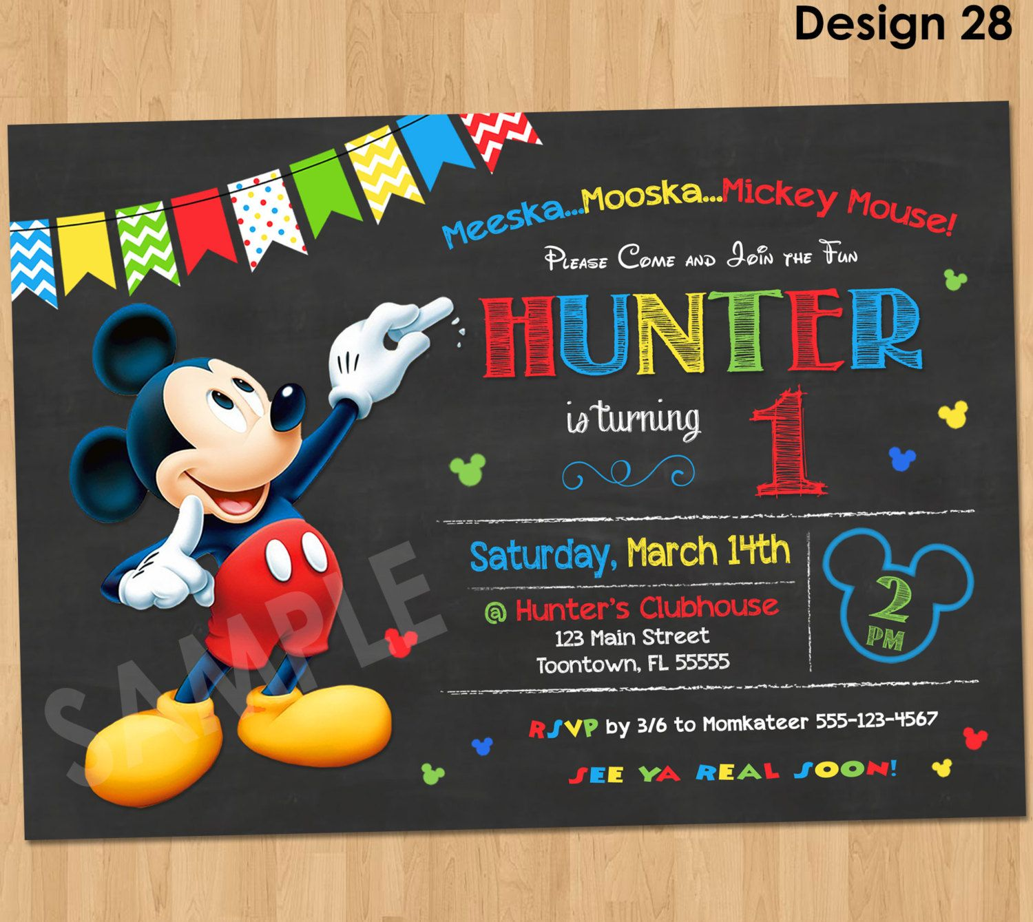 mickey mouse photo birthday party invitations first ; e5e0c54021138e50935a6dc7d36654af