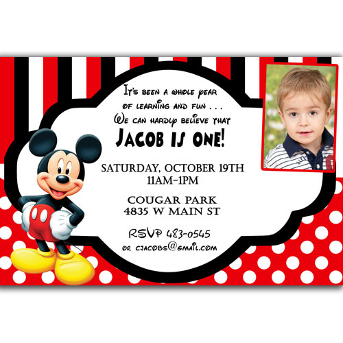 mickey mouse photo birthday party invitations first ; e6edf84f30c88ad03a6b250794f255a4