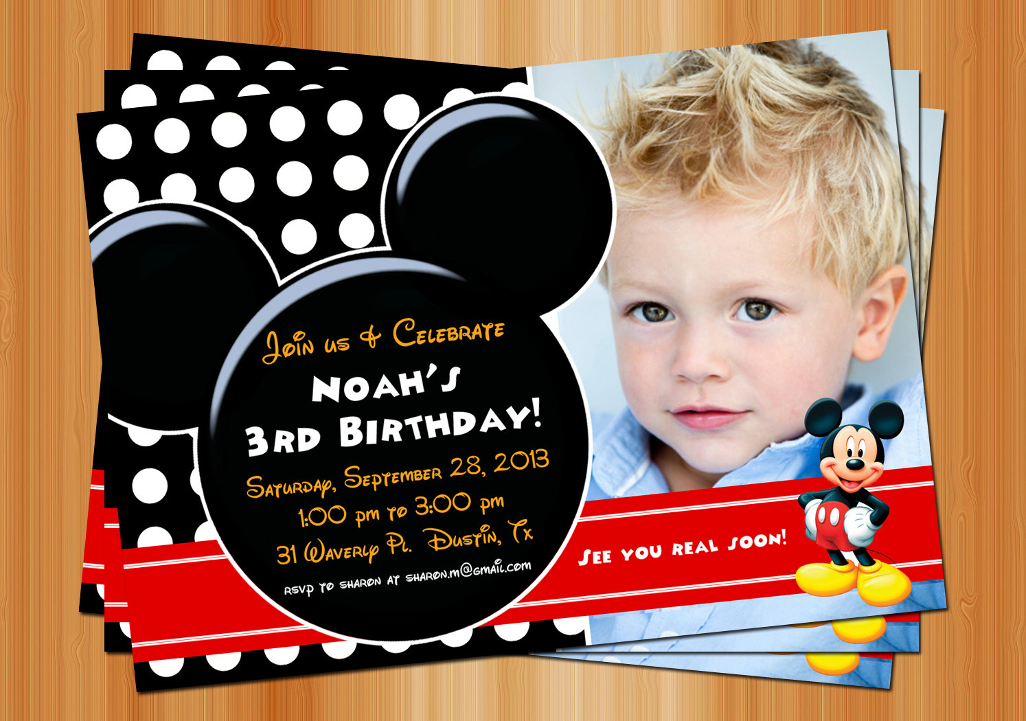 mickey mouse photo birthday party invitations first ; il_fullxfull
