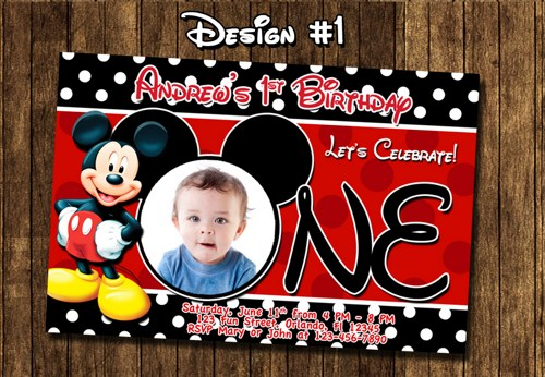 mickey mouse photo birthday party invitations first ; mickey_mouse_birthday_party_baby_first_1st_clubhouse_red_55decb19