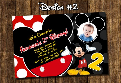 mickey mouse photo birthday party invitations first ; mickey_mouse_birthday_party_baby_first_1st_clubhouse_red_black_yellow_65e33eff