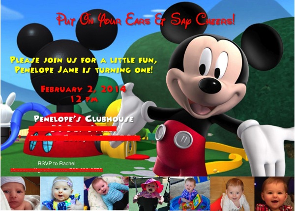 mickey mouse photo birthday party invitations first ; penelope+1st+bday+invitation