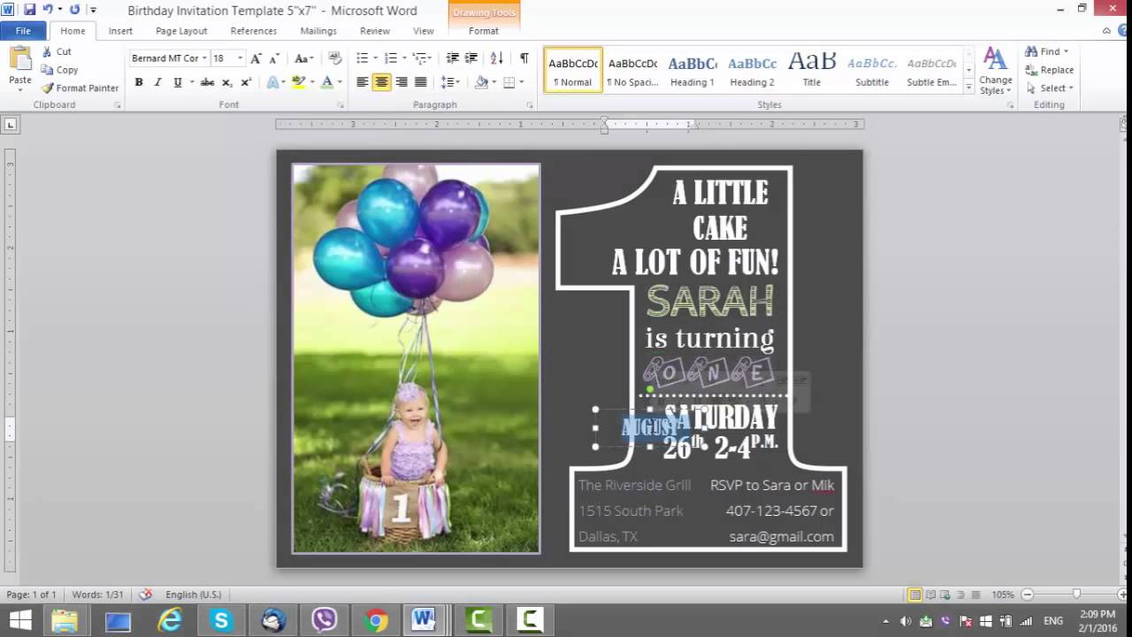 microsoft word birthday invitation template ; maxresdefault