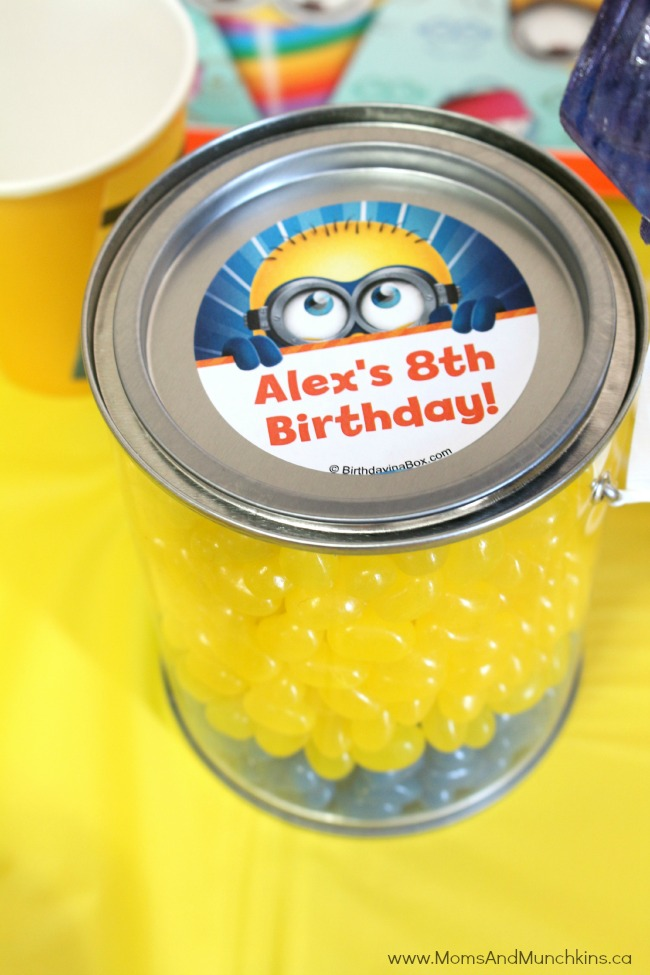 minion birthday stickers ; minion-party-table-8-m