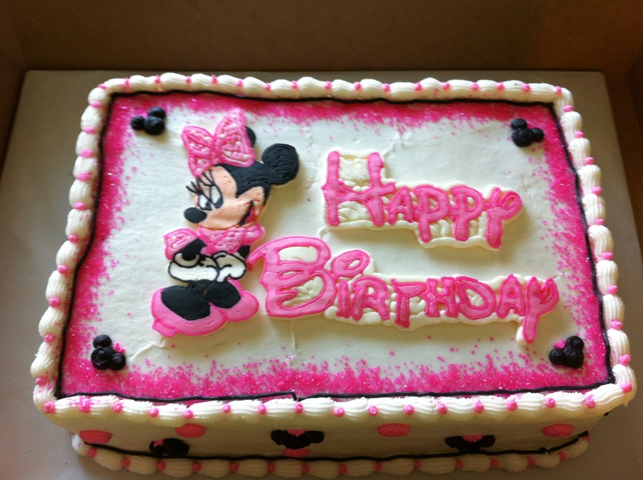 minnie mouse birthday sheet cake ; 9a22e35cbeff94ab4e858e3716277f78