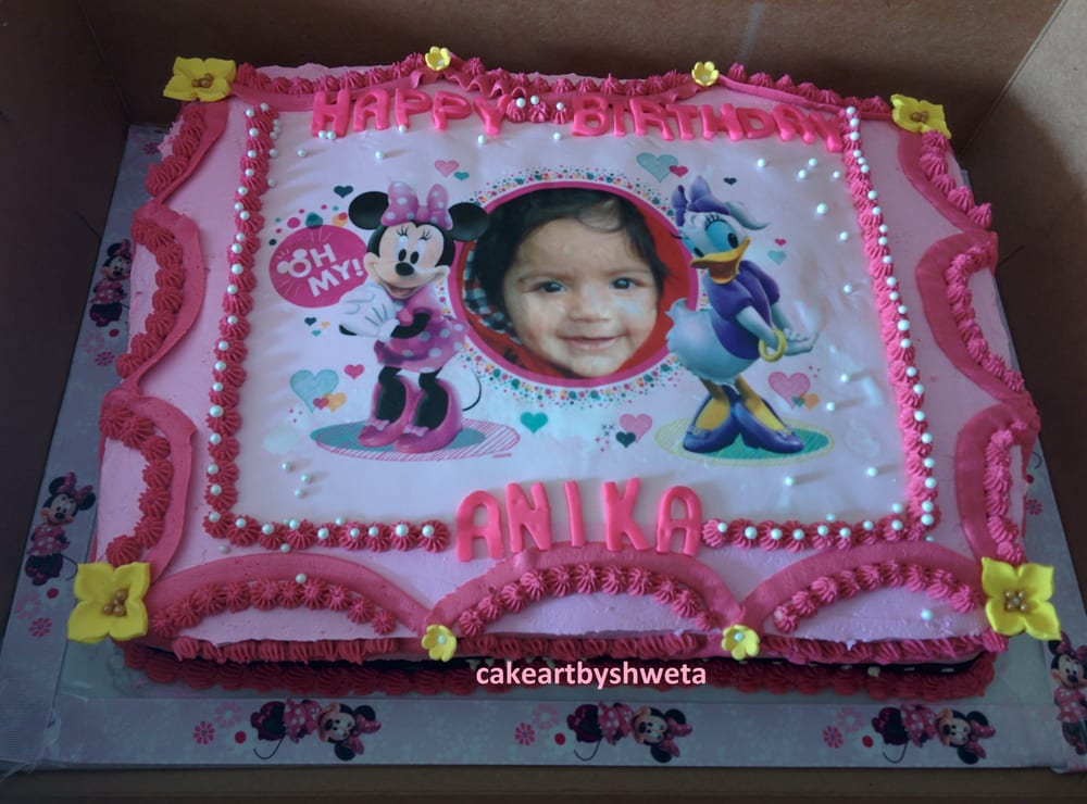 minnie mouse birthday sheet cake ; o
