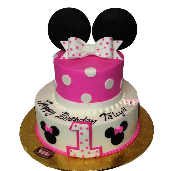 minnie mouse first birthday sheet cake ; 2-Tier-Pink-White-Minnie-Mouse