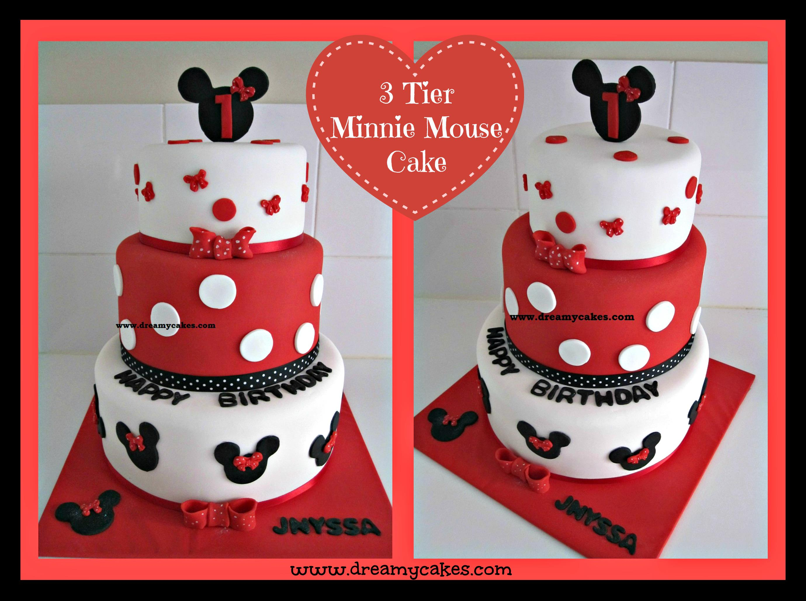 minnie mouse first birthday sheet cake ; mini-3-tier-Collage