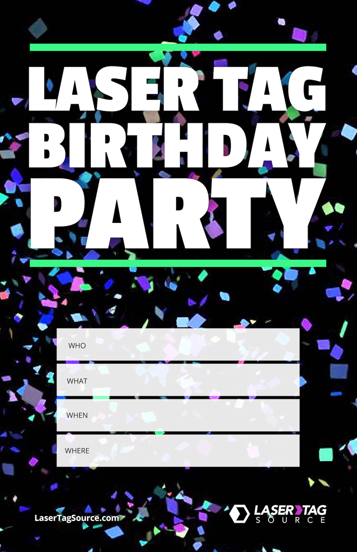 mobile laser tag birthday party ; Birthday-Party-Laser-Tag-Event-Poster