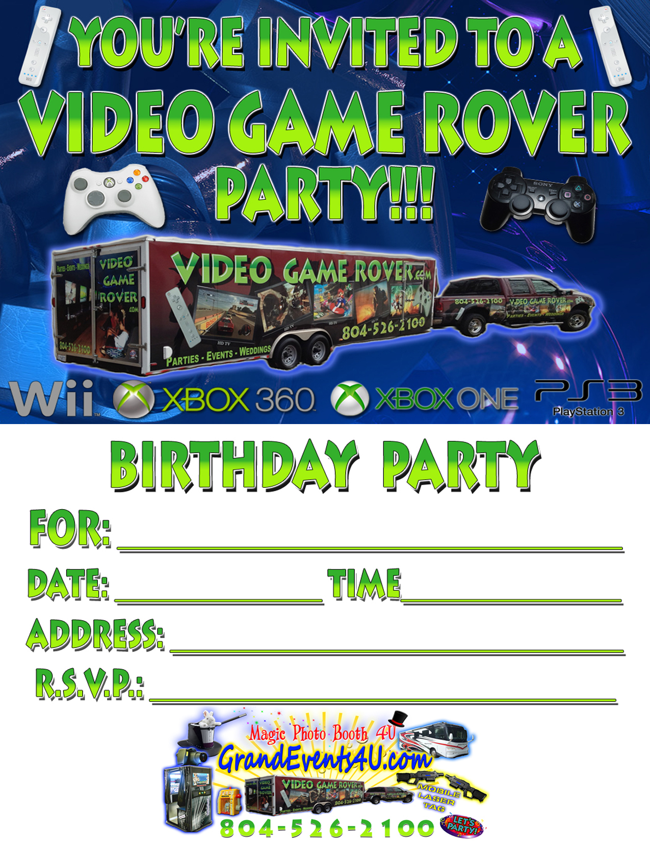 mobile laser tag birthday party ; VideoGameRover_Invitation_Onesided2