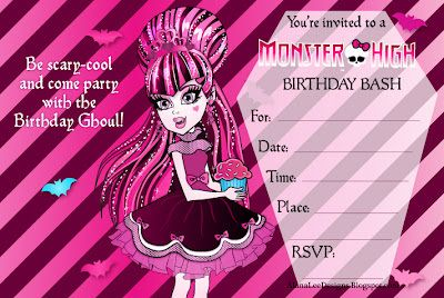 monster high birthday invitation templates free ; 45fd2e580c89d710ce134c4fea3d5ae7