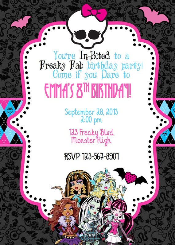 monster high birthday invitation templates free ; 484117