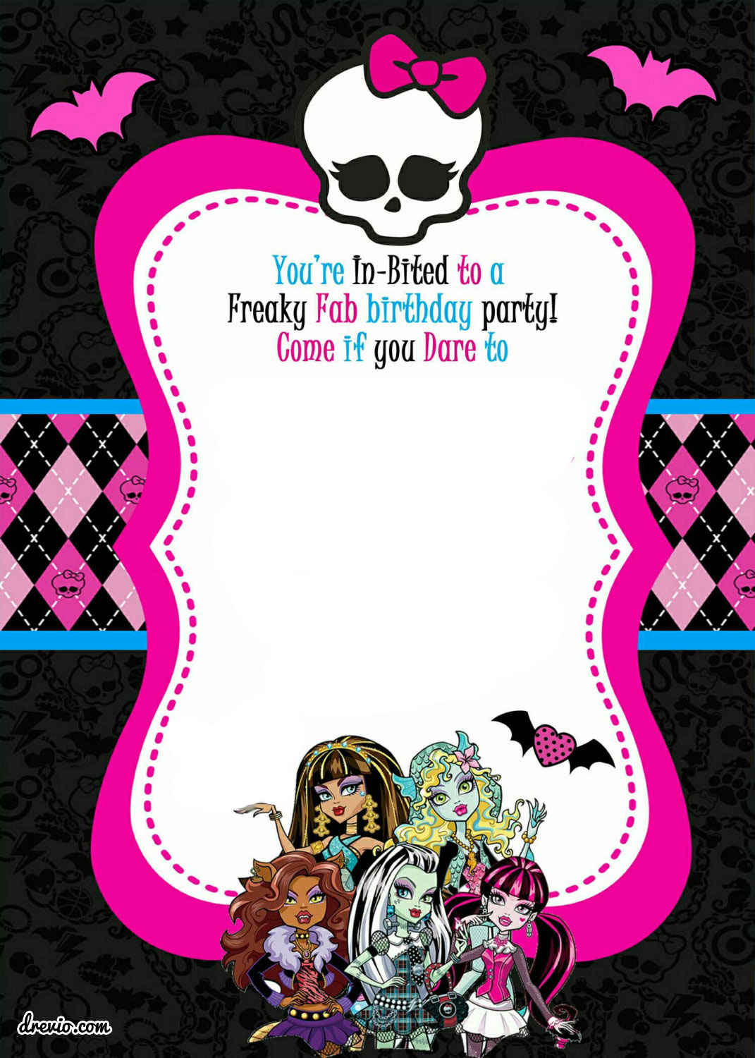 monster high birthday invitation templates free ; FREE-Printable-Blank-Monster-High-Invitation-Template-All-characters