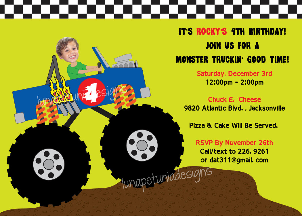 monster truck birthday invitation template ; 1000_images_about_becks_monster_truck_party_on_ajordanscart_com_2