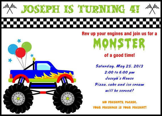 monster truck birthday invitation template ; monster-truck-birthday-invitations-and-exquisite-invitations-fitting-aimed-at-giving-pleasure-to-your-Birthday-Invitation-Templates-11