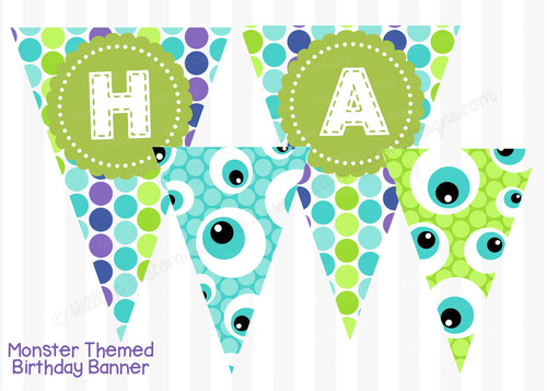 monsters inc birthday banner ; large